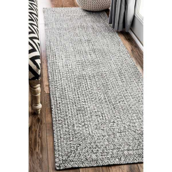Oliver & James Rowan Handmade Grey Braided Runner Rug - 2'6' x 8' runner