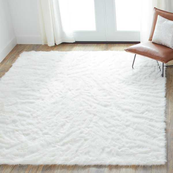 Porch & Den Bates Faux Sheepskin Ivory White Shag Area Rug - 5' x 7'6