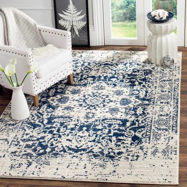 Safavieh Madison Vintage Boho Medallion Cream/ Navy Rug - 5'1' x 7'6'