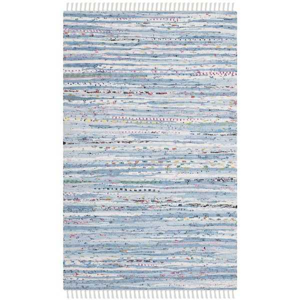 Safavieh Hand-Woven Rag Rug Light Blue / Multicolored Cotton Rug - 2' X 3'