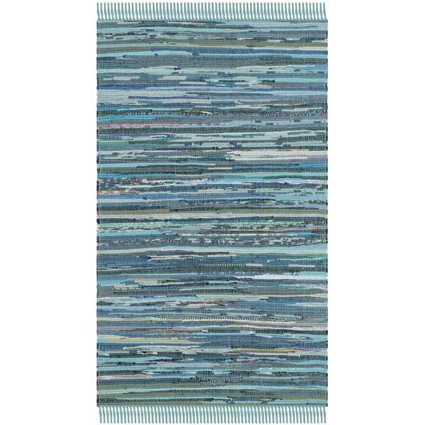 Safavieh Hand-woven Rag Rug Blue Cotton Rug - 2'6' x 4'