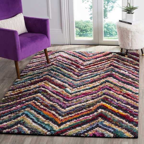 Safavieh Fiesta Shag Chevron Multicolored Rug - multi - 5'1 x 7'7