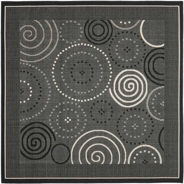 Safavieh Ocean Swirls Black/ Sand Indoor/ Outdoor Rug - 6'7' x 6'7' square