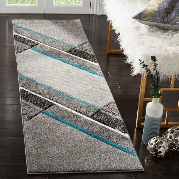 Safavieh Hollywood Contemporary Abstract Grey / Teal Rug - 2'3' x 6'
