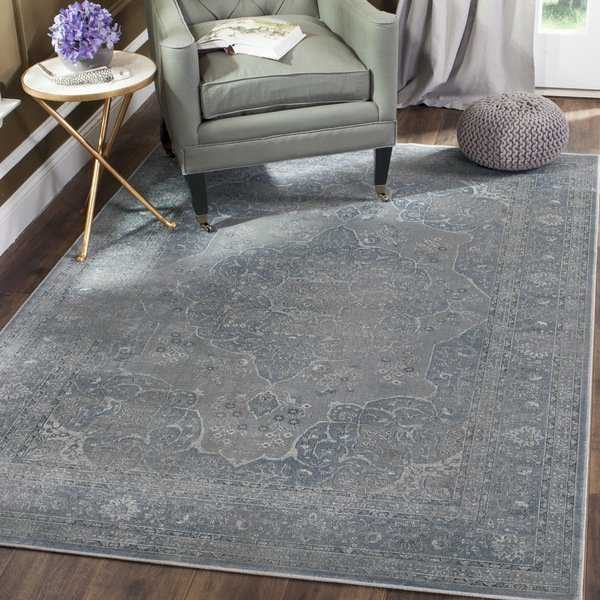 Safavieh Vintage Oriental Light Blue/ Light Grey Distressed Silky Viscose Rug - 2' X 3'